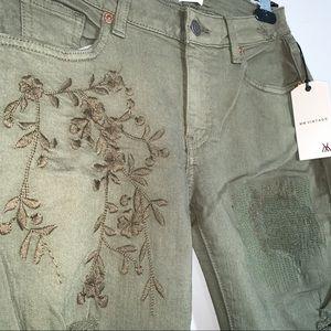 MissMe Vintage • Olive Green, Embroidered Jeans